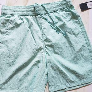 Womens Swim Shorts Small Mint Blue Mesh Pockets Draw String